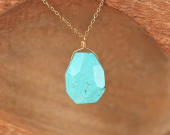 Turquoise pendant necklace - chunky stone necklace - turquoise necklace - boho necklace - geometric - 14k gold filled chain
