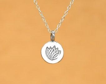 Lotus necklace - silver lotus necklace - yoga necklace - lotus flower - disc - a sterling silver lotus flower on a sterling silver chain