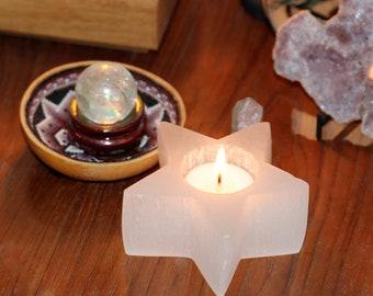 Selenite candle holder - tea light candle holder - star candle holder - white candle holder - tea light star - healing crystal