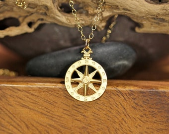 Compass necklace, wanderlust necklace, 14k true north, nautical compass pendant, travelers necklace, direction necklace, going away gift
