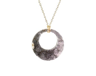 Amethyst circle necklace, raw crystal hoop pendant, amethyst druzy necklace, chunky crystal necklace, statement necklace, 14k gold filled