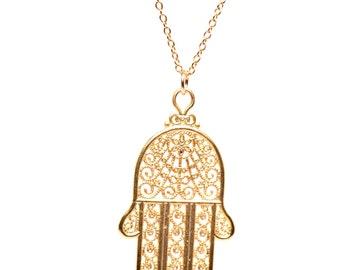 Hamsa necklace - gold hamsa charm - a filigree style 22k gold overlay hamsa on a 14k gold vermeil chain