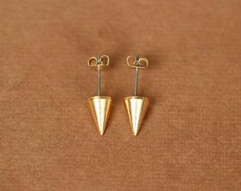 Gold spike earrings - spike studs - silver spike earrings - spike studs - stud earrings - point earrings