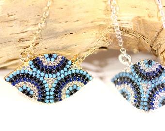 Evil eye necklace - crystal eye necklace - blue evil eye - amulet necklace - sparkly necklace - blue crystal necklace