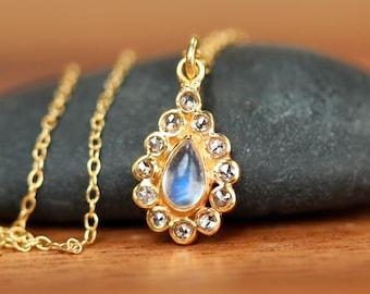 Diamond and moonstone necklace - diamond necklace - 18k gold moonstone necklace - teardrop necklace - wedding necklace
