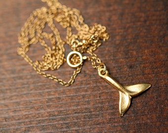 Gold whale tail necklace - whales tale - whale tail necklace - a gold whale tail on a 14k gold filled chain