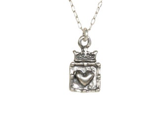 Queen of my heart necklace, silver heart and crown pendant, royalty, silver crown topped heart, princess necklace