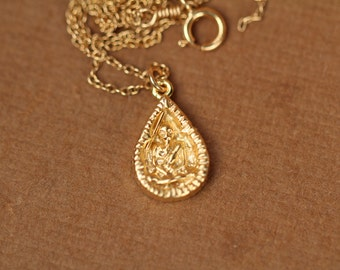 Buddha necklace - yoga necklace - mediatation necklace - peace - a gold vermeil teardrop buddha charm on a 14k gold vermeil chain