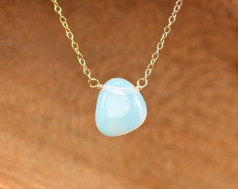 Opalite necklace - pebble necklace - gypsy necklace - crystal necklace - drop necklace - wire wrapped crystal necklace