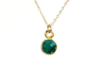 Emerald necklace - may birthstone - green emerald - layering necklace - a tiny gold bezel green emerald on a 14K gold vermeil chain