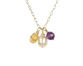 Citrine, amethyst and pearl necklace, freshwater pearl pendant, healing crystal necklace, dainty, white pearl necklace, 14k gold filled