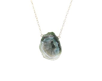 Green geode necklace - druzy necklace - rock crystal necklace - raw crystal necklace