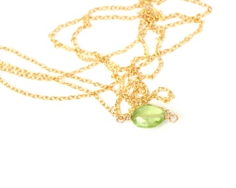 Peridot necklace - green peridot - august birthstone - healing crystal - crystal necklace - a tiny peridot gem on a 14k gold vermeil chain