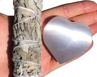 Selenite heart and California white sage, crystal gift set, healing crystal, energy healing, spiritual protection, calming stone heart