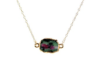 Ruby necklace - zoisite necklace - anyolite necklace - crystal necklace - a gold lined ruby zoisite on a 14k gold vermeil chain