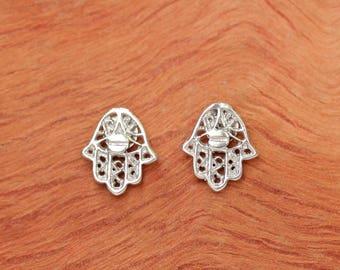 Hamsa earrings stud silver - silver hamsa earrings - sterling silver hamsa stud earrings - hand earrings - hunnukah jewelry