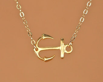 Anchor necklace - gold anchor necklace - sideways anchor necklace - a 22k gold overlay horizontal anchor on a 14k gold filled chain