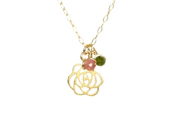 Rose necklace, flower necklace, tourmaline necklace, flower and petals, gold flower pendant, dainty gold necklace, healing crystal necklace