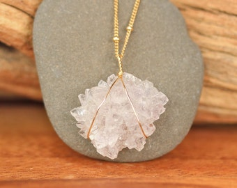 Stalactite necklace - druzy necklace - raw crystal star necklace - a raw amethyst stalactite on a 14k gold filled satellite chain