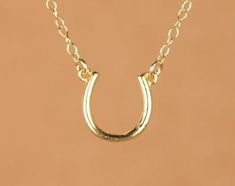 Gold horseshoe necklace - good luck charm - lucky horseshoe - bff necklace