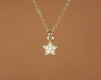 Tiny star necklace - gold star necklace - silver star necklace  - a tiny gold or silver star on a 14k gold vermeil or sterling silver chain