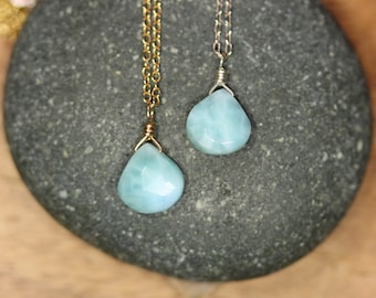 Larimar necklace, blue stone drop necklace, something blue wedding, delicate healing crystal, throat chakra stone