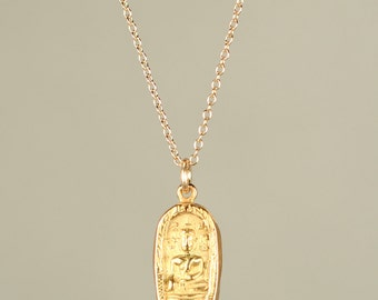 Gold buddha necklace - yoga necklace - meditation necklace - a little gold buddha charm hanging on a 14k gold vermeil chain