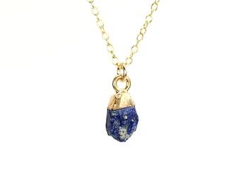 Raw lapis necklace - lapis lazuli necklace - blue stone necklace - september birthstone necklace - black onyx necklace