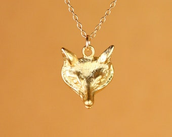 Fox necklace - wolf necklace - fox head necklace - gold fox - silver fox - a gold vermeil fox charm on a 14k gold vermeil chain
