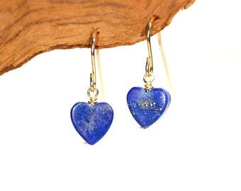 Gold heart earrings - lapis lazuli earrings - lapis hearts - love earrings - september birthstone - blue earrings