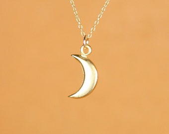 Moon necklace - gold moon necklace - tiny moon - crescent moon necklace - a 22k gold overlay little moon on a 14k gold vermeil chain