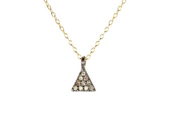 Triangle necklace - pave diamond necklace - diamond triangle - diamond pendant - a tiny diamond triangle charm on 14k gold filled chain