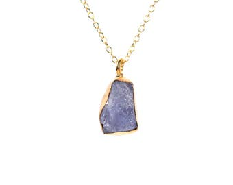 Tanzanite necklace - purple crystal necklace - A gold bezel set raw purple tanzanite hanging from a 14k gold vermeil chain