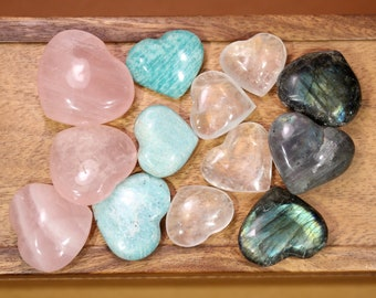 Rose quartz heart stone - stone heart - palm stone - healing stone - love stone - meditation