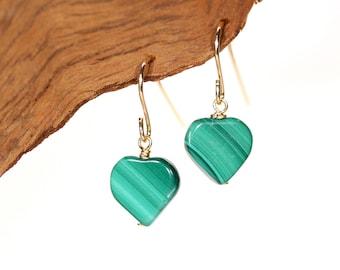 Heart earrings - malachite earrings - love earrings - gift under 25 - green hearts