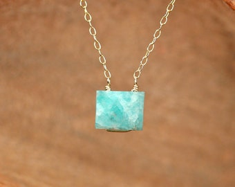 Amazonite necklace - cube necklace - rectangle necklace - crystal necklace - geometric necklace - green stone necklace - AM7OC