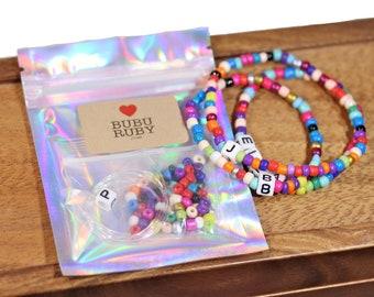 DIY bracelet kit, pony bead bracelet, letter bracelets, colorful name bracelet, stacking bracelets, kids bracelets, make your own bracelet