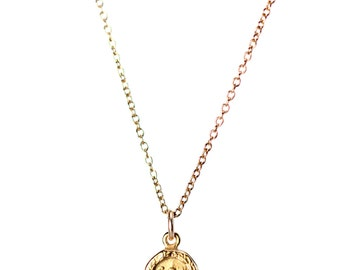 Gold buddha necklace - yoga necklace - meditation necklace - a gold buddha charm hanging on a 14k gold vermeil chain