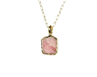 Rhodochrosite necklace, pink crystal pendant, pink stone necklace, healing crystal jewelry, light pink crystal, 14k gold filled chain