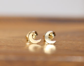 Moon earrings, 14k gold filled crescent moon stud earrings, half moon earring, celestial jewelry, little gold moon earrings, boho earrings