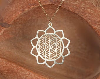 Flower of life necklace - gold mandala necklace - yoga jewelry