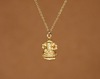 Ganesha necklace - gold ganesha - indian god - ganesh - yoga necklace - a 22k gold plated sterling silver ganesha on 14k gold vermeil chain