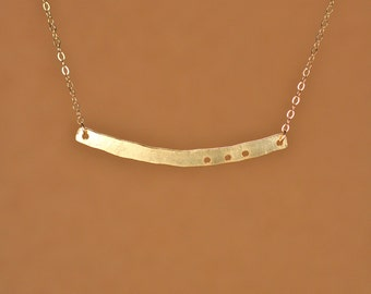Gold bar necklace - bar necklace - simple - minimalist - a 22k gold vermeil gold bar hanging from a 14k gold filled chain