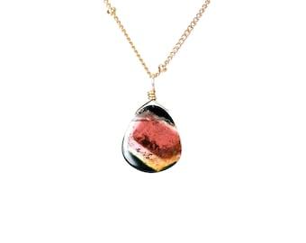 Tourmaline slice necklace - watermelon tourmaline necklace - crystal necklace
