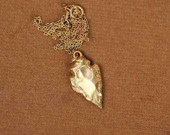 Arrowhead necklace - gold arrowhead - arrow head -a gold vermeil arrowhead on a 14k gold vermeil chain