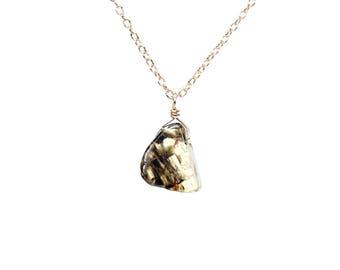 Green tourmaline necklace - crystal slice necklace - tourmaline slice necklace - tiny necklace