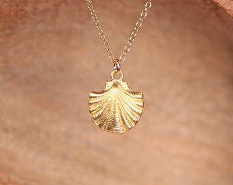 Gold shell necklace - scallop necklace - silver sea shell necklace