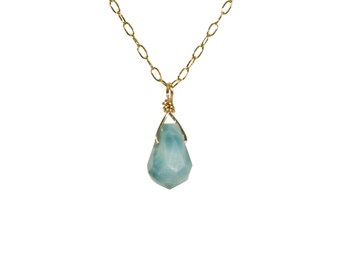 Larimar necklace, aqua blue crystal necklace, pectolite pendant, chakra necklace, dainty gold filled necklace, healing crystal jewelry