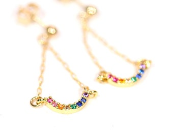 Rainbow earrings - dangle chakra earrings - LGBTQ earrings - cute gold earrings - happy earrings