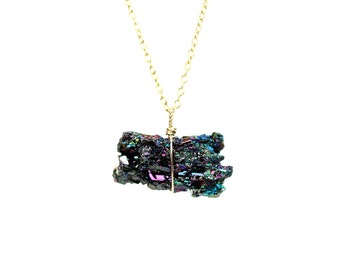Carborundum necklace - raw crystal necklace - rainbow crystal necklace - mineral necklace - iridescent carborundum
